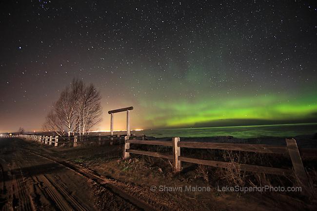 aurora borealis northern lights in the upper peninsula of michigan