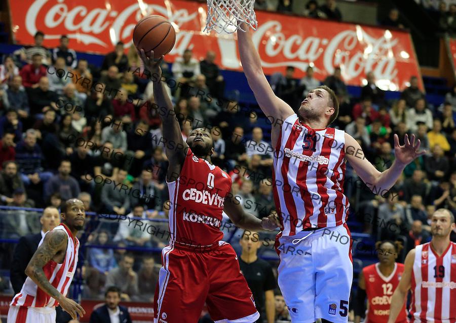 Kosarka ABA League season 2015-2016<br /> Crvena Zvezda v Cedevita<br /> Jacob Pullen and Vladimir Stimac (R)<br /> Beograd, 04.01.2015.<br /> foto: Srdjan Stevanovic/Starsportphoto&copy;