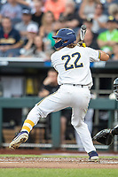 Michigan Wolverines outfielder Jordan Brewer (22) at bat against the Vanderbilt Commodores during Game 2 of the NCAA College World Series Finals on June 25, 2019 at TD Ameritrade Park in Omaha, Nebraska. Vanderbilt defeated Michigan 4-1. (Andrew Woolley/Four Seam Images)