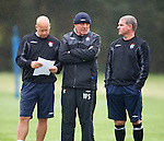 Walter SMith and Ian Durrant stand alongside Kenny McDowall without his trademark clipboard