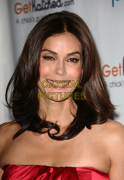 "TERI HATCHER .Disney Family.com and award winning actress Teri Hatcher kicks-off the launch joint web project ""GetHatched.com"" held at Rouge Tomate, New York, NY, USA..May 10th, 2010.headshot portrait red strapless .CAP/ADM/PZ.©Paul Zimmerman/AdMedia/Capital Pictures."