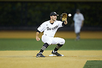 Wake Forest Demon Deacons second baseman Michael Turconi (6) fields a throw at second base during the game against the Davidson Wildcats at David F. Couch Ballpark on May 7, 2019 in  Winston-Salem, North Carolina. The Demon Deacons defeated the Wildcats 11-8. (Brian Westerholt/Four Seam Images)