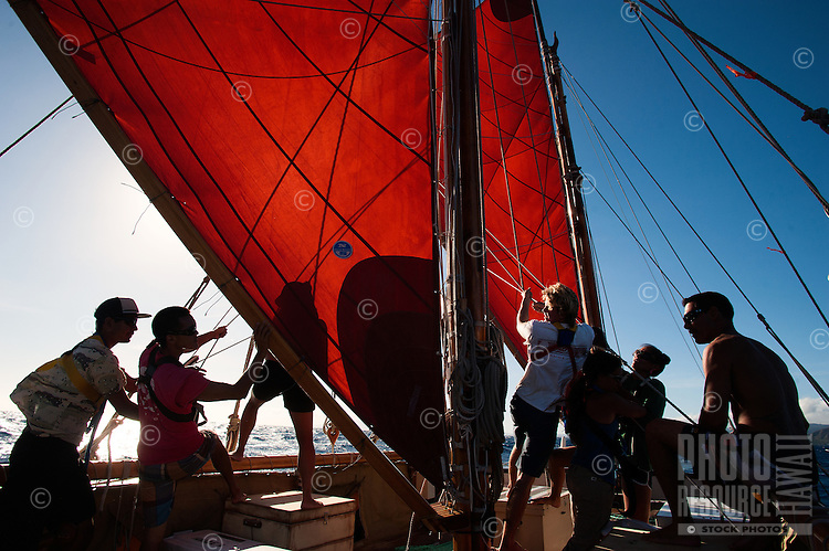 Polynesian voyaging canoe, Hokule'a; training sail for Worldwide Voyage 2013 _ 8/9/12 Honolulu, Hawaii