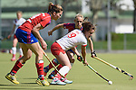 Mannheim, Germany, April 18: During the 1. Bundesliga Damen match between TSV Mannheim (white) and Mannheimer HC (red) on April 18, 2015 at TSV Mannheim in Mannheim, Germany. Final score 1-7 (1-4). (Photo by Dirk Markgraf / www.265-images.com) *** Local caption *** Charlotte van Bodegom #14 of Mannheimer HC, Antje Rink #19 of TSV Mannheim