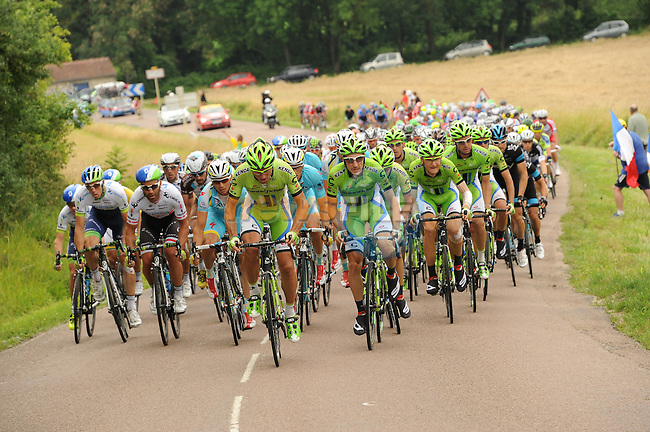 Cannondale team at the front of the peleton during Stage 7 of the 2014 Tour de France running 234.5km from Epernay to Nancy. 11th July 2014.<br /> Photo ASO/G.Demouveaux/www.newsfile.ie
