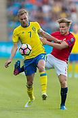 June 1th 2017, Ullevaal Stadion, Oslo, Norway; International Football Friendly 2018 football, Norway versus Sweden;  Sebastian Larsson of Sweden battles with  Jonas Svensson of Norway
