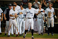 Lakeland Flying Tigers Kody Clemens (8) waits for Austin Athmann (not shown) after a game winning home run during a Florida State League game against the Palm Beach Cardinals on April 17, 2019 at Publix Field at Joker Marchant Stadium in Lakeland, Florida.  Lakeland defeated Palm Beach 1-0.  (Mike Janes/Four Seam Images)