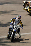 Chad Reed (22) and Travis Pastrana (199) compete during the Moto X Super Moto final during X-Games 12 in Los Angeles, California on August 6, 2006.