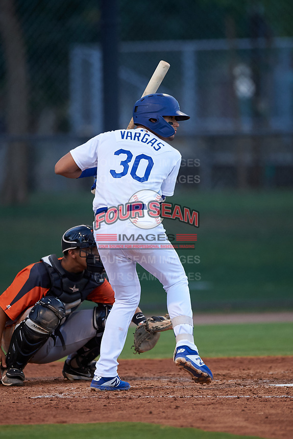 AZL Dodgers Mota Imanol Vargas (30) at bat during an Arizona League game against the AZL Giants Orange on June 29, 2019 at Camelback Ranch in Glendale, Arizona. The AZL Giants Orange defeated the AZL Dodgers Mota 9-3. (Zachary Lucy/Four Seam Images)