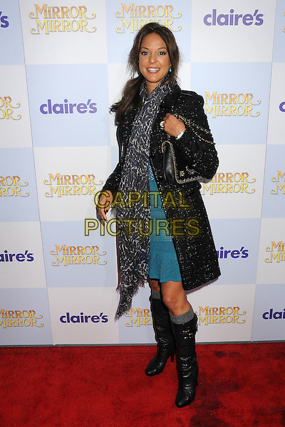 "Eva La Rue.""Mirror Mirror"" Los Angeles Premiere held at Grauman's Chinese Theatre, Los Angeles, California, USA, .17th March 2012 .full length  chanel bag black tweed coat scarf animal leopard print  knee high boots  blue dress .CAP/ADM/BP.©Byron Purvis/AdMedia/Capital Pictures."