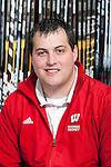 Wisconsin Badgers equipment manager Nate LaPoint poses for a portrait on the bench before an NCAA hockey game against the Alabama Huntsville Chargers at the Kohl Center in Madison, Wisconsin on October 15, 2010. The Badgers won 7-0. (Photo by David Stluka)