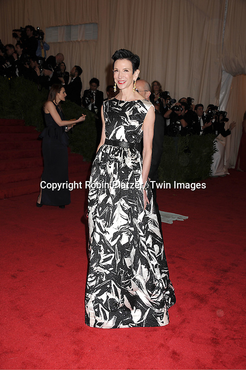 "Amy Fine Collins attends the Costume Institute Gala Benefit celebrating ""Schiaparelli and Prada: Impossible Conversations"".an exhibition at the Metropolitan Museum of Art in New York City on May 7, 2012."