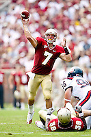 September 04, 2010:   Florida State Seminoles quarterback Christian Ponder (7) passes during first half action between the Florida State Seminoles and the Samford Bulldogs at Doak Campbell Stadium in Tallahassee, Florida.  Florida State defeated Samford 59-6.