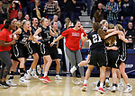 SIOUX FALLS, SD: MARCH 12:  Players from Central Missouri celebrate after winning against Augustana during the 2018 NCAA Division II Women's Basketball Central Region Championship Monday at the Elmen Center in Sioux Falls, S.D. (Photo by DIck Carlson/Inertia)