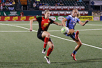 Rochester, NY - Friday July 01, 2016: Western New York Flash defender Alanna Kennedy (8), Chicago Red Stars midfielder Alyssa Mautz (4) during a regular season National Women's Soccer League (NWSL) match between the Western New York Flash and the Chicago Red Stars at Rochester Rhinos Stadium.