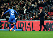 27th March 2018, Wembley Stadium, London, England; International Football Friendly, England versus Italy; Italy caretaker manager Luigi Di Biagio shouting at Federico Chiesa of Italy from the touchline