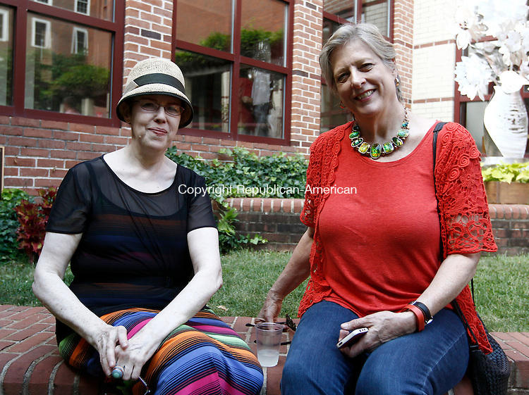 Waterbury, CT- 22 June 2014-062214CM08-  Left to right Deena des Rioux, an artist from NY with Charlene Keogh with Keogh Design of NY, are photographed during the Mattatuck Museum's opening reception of its summer exhibition in Waterbury on Sunday.  Christopher Massa Republican-American