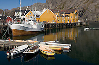 Narrow harbor of Nusfjord on Moskenesoya island, Lofoten Islands, Norway
