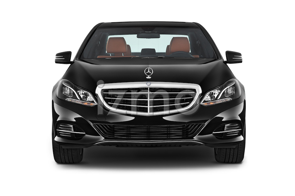 Car photography straight front view of a 2015 Mercedes Benz E Class Elegance 4 Door Sedan