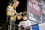 Team Jumbo-Visma at the team presentations in Compiegne before Paris-Roubaix 2019, Compiegne, France. 13th April 2019<br /> Picture: ASO/Pauline Ballet | Cyclefile<br /> All photos usage must carry mandatory copyright credit (&copy; Cyclefile | ASO/Pauline Ballet)