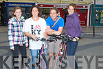 CYCLE: Leaving the square to cycle to Banna for a Cycle and Surf as part of the Kerry Bycycle festival on Saturday morning, were, l-r: Lilith Buerstner, Treasa Ní Eachthigherrn, keith Phelan and lea Plunger.