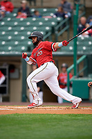 Rochester Red Wings Wilin Rosario (20) at bat during an International League game against the Charlotte Knights on June 16, 2019 at Frontier Field in Rochester, New York.  Rochester defeated Charlotte 11-5 in the first game of a doubleheader that was a continuation of a game postponed the day prior due to inclement weather.  (Mike Janes/Four Seam Images)