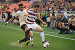 HOUSTON, TX - DECEMBER 11:  Sam Werner (23) of Stanford University and Logan Gdula (17) of Wake Forest University compete for the ball during the Division I Men's Soccer Championship held at the BBVA Compass Stadium on December 11, 2016 in Houston, Texas.  Stanford defeated Wake Forest 1-0 in a penalty shootout for the national title. (Photo by Justin Tafoya/NCAA Photos via Getty Images)