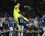 Jordan Pickford of Everton celebrates the win after receiving abuse all match from the Newcastle fans during the premier league match at Goodison Park Stadium, Liverpool. Picture date 23rd April 2018. Picture credit should read: Simon Bellis/Sportimage