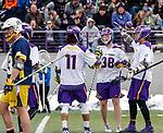 University at Albany Men's Lacrosse defeats Drexel 18-5 on Feb. 24 at Casey Stadium.  UAlbany celebrates a Sean Eccles (#38) goal. (Photo by Bruce Dudek / Cal Sport Media/Eclipse Sportswire)
