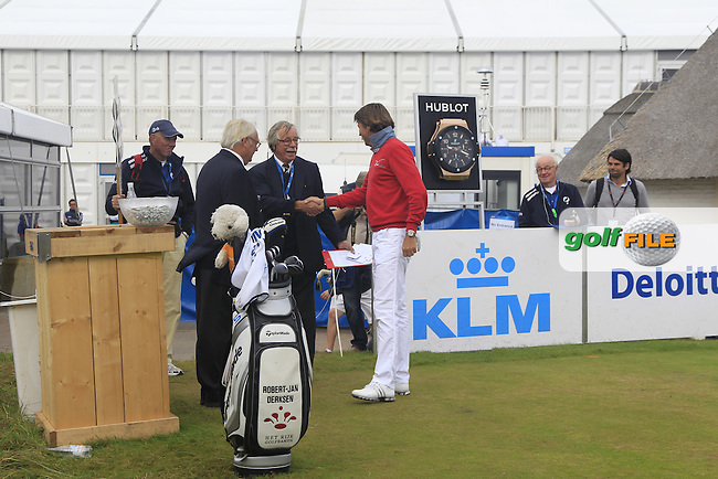 Robert-Jan Derksen (NED) on the 1st tee during Round 4 of the KLM Open at Kennemer Golf &amp; Country Club on Sunday 14th September 2014.<br /> Picture:  Thos Caffrey / www.golffile.ie