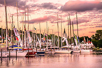 Sailboats fill the Mackinac Island marina after the 100th annual Bell's Bayview Mackinac race.