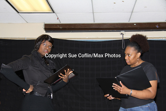 """Ahn Andre & Tanashia Harrington a part of the cast of """"To Do List"""" at Grandparents Around the World, new play """"To Do List"""" play reading on December 7, 2013 at the Salvation Army Harlem Corps, New York, New York.  (Photo by Sue Coflin/Max Photos)"""