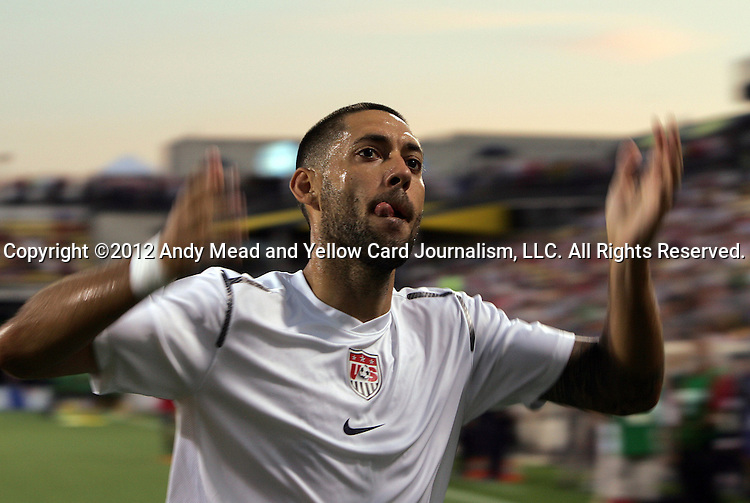 11 September 2012: Clint Dempsey (USA) motions to the fans as he leaves the field after pregame warmups. The United States Men's National Team defeated the Jamaica Men's National Team 1-0 at Columbus Crew Stadium in Columbus, Ohio in a CONCACAF Third Round World Cup Qualifying match for the FIFA 2014 Brazil World Cup.