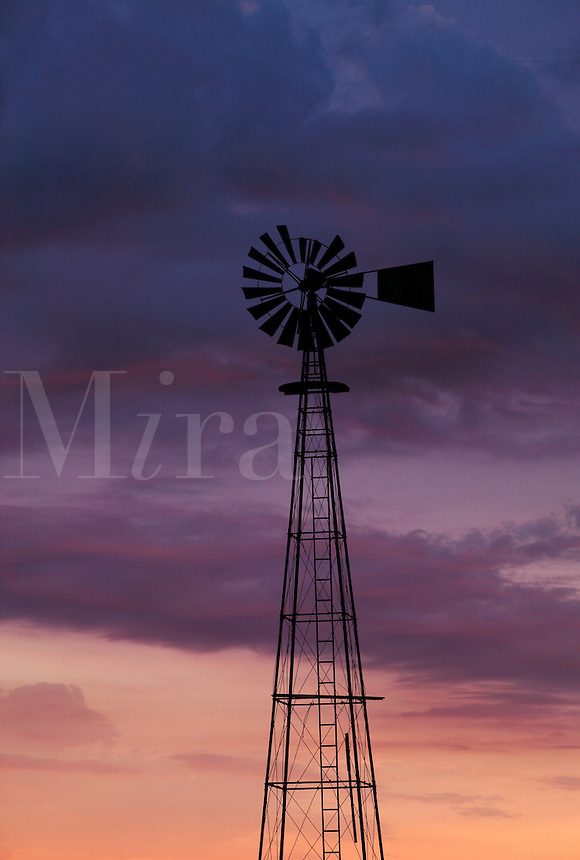 Windmill at sunrise, Iowa
