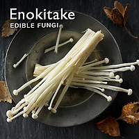 Food Pictures of Fresh Enokitake, Enodake or Enoki mushrooms. Food Photos, Images.