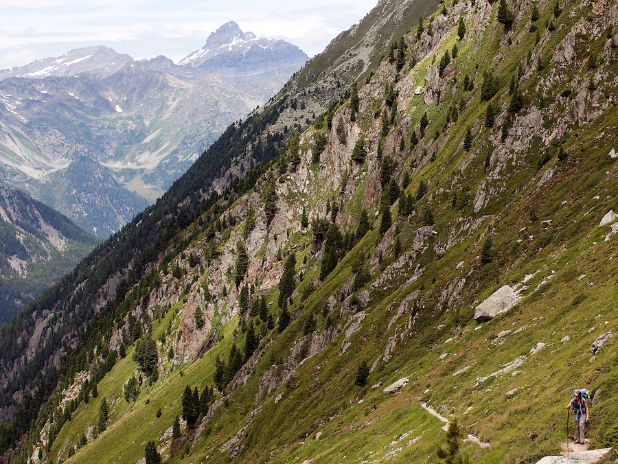 Heading towards the Fenetre d'Arpette, above Trient, Switzerland.