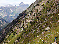 Heading towards the Fenetre d'Arpette, above Trient, Switzerland.