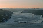 Fjord du Saguenay vu d'avion Quebec en hiver. Canada.