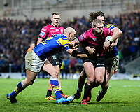 Hull FC 's Jordan Abdull is tackled by Leeds Rhinos' Carl Ablett and Anthony Mullally<br /> <br /> Photographer Alex Dodd/CameraSport<br /> <br /> Betfred Super League Round 5 - Leeds Rhinos v Hull FC - Thursday 8th March 2018 - Headingley Carnegie Stadium - Leeds<br /> <br /> World Copyright &copy; 2018 CameraSport. All rights reserved. 43 Linden Ave. Countesthorpe. Leicester. England. LE8 5PG - Tel: +44 (0) 116 277 4147 - admin@camerasport.com - www.camerasport.com