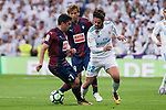 "Real Madrid Francisco Roman ""Isco"" and Eibar Ander Capa an Takashi Inui during La Liga match between Real Madrid and Eibar at Santiago Bernabeu Stadium in Madrid, Spain. October 22, 2017. (ALTERPHOTOS/Borja B.Hojas)"