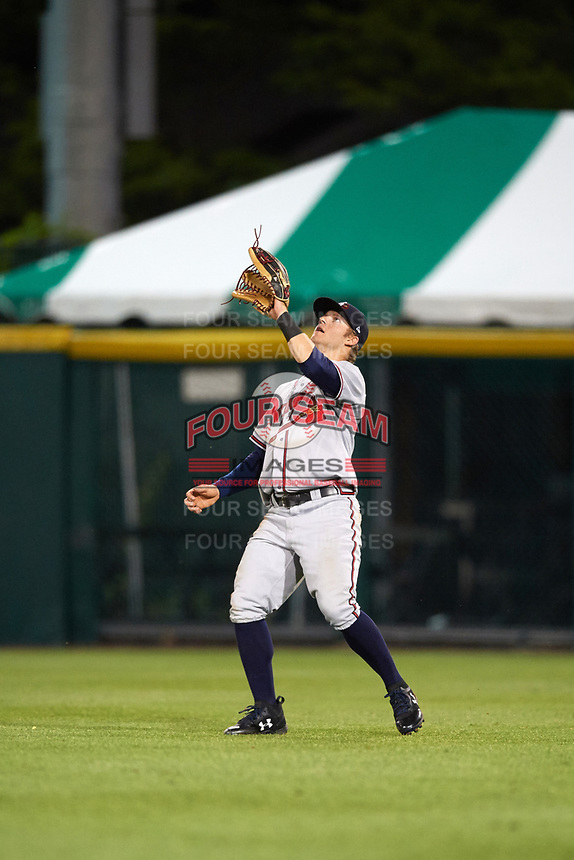 Gwinnett Braves right fielder Dustin Peterson (18) catches a fly ball during a game against the Buffalo Bisons on August 19, 2017 at Coca-Cola Field in Buffalo, New York.  Gwinnett defeated Buffalo 1-0.  (Mike Janes/Four Seam Images)