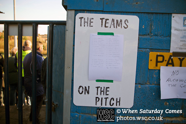 Gornal Athletic 4 Wisbech Town 2, 02/02/2013. Garden Walk Stadium, FA Vase 4th round. The team line-ups pinned to a board at Garden Walk Stadium, prior to the FA Vase 4th round tie between Gornal Athletic (in yellow) from Dudley in the West Midlands and visitors Wisbech Town. Gornal, from the Midland Alliance and appearing for the first time at this stage of the tournament, defeated Wisbech, who play in the Eastern Counties League, by 4-2 after extra-time, after the visitors had lead two-nil after 10 minutes. The FA Vase was a nationwide, non-League English football tournament for semi-professional clubs and the winner of this tie played away at Bodmin Town in the next round. Photo by Colin McPherson.