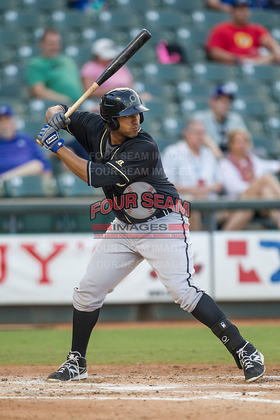 Omaha Storm Chasers first baseman Matt Fields (15) at bat during the Pacific Coast League baseball game against the Round Rock Express on June 1, 2014 at the Dell Diamond in Round Rock, Texas. The Express defeated the Storm Chasers 11-4. (Andrew Woolley/Four Seam Images)