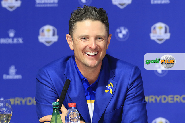 Justin Rose (Team Europe) at the press conference after Europe win the Ryder Cup 17.5 to 10.5 at the end of Sunday's Singles Matches at the 2018 Ryder Cup 2018, Le Golf National, Ile-de-France, France. 30/09/2018.<br /> Picture Eoin Clarke / Golffile.ie<br /> <br /> All photo usage must carry mandatory copyright credit (© Golffile | Eoin Clarke)