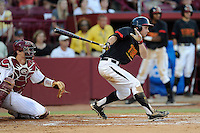 Second baseman Brandon Lowe (16) of the Maryland Terrapins in an NCAA Division I Baseball Regional Tournament game against the South Carolina Gamecocks on Sunday, June 1, 2014, at Carolina Stadium in Columbia, South Carolina. The USC catcher is Grayson Greiner. Maryland won, 10-1, to win the tournament. (Tom Priddy/Four Seam Images)