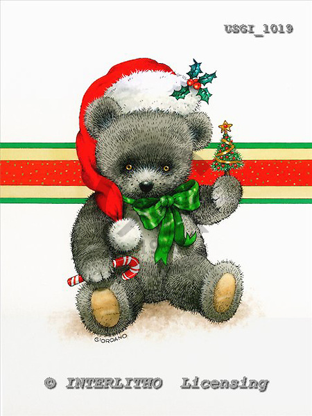GIORDANO, CHRISTMAS ANIMALS, WEIHNACHTEN TIERE, NAVIDAD ANIMALES, Teddies, paintings+++++,USGI1019,#XA#