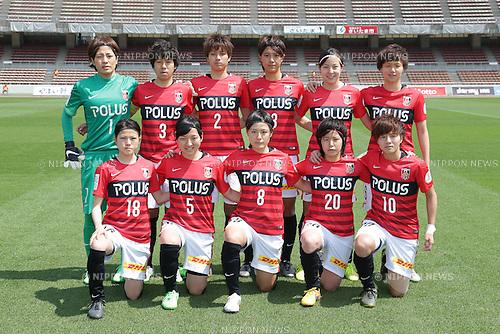 Urawa Red Diamonds Ladies team group line-up, April 30, 2016 - Football / Soccer : Urawa Reds Ladies team group (L-R) Sakiko Ikeda, Shiho Kouhata, Kana Osafune, Akari Shiraki, Hikaru Kitagawa, Ruka Norimatsu front: Hanae Shibata, Akari Kurishima, HIkaru Naomoto, Chika Kato, Chinatsu Kira pose prior to the Nadeshiko League match between Urawa Reds Ladies and INAC Kobe Leonessa at Urawa Komaba Stadium in Saitama, Japan (Photo by AFLO)