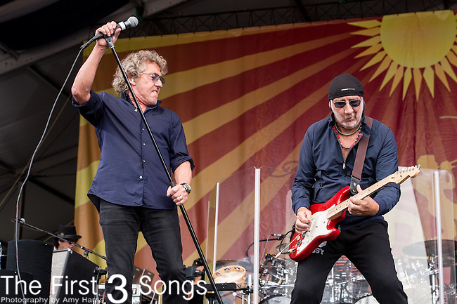 Pete Townshend and Roger Daltrey of The Who perform during the 2015 New Orleans Jazz & Heritage Festival in New Orleans, Louisiana.