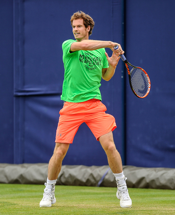Andy Murray (GBR) warming up before his Singles Semi Final match<br /> <br /> <br /> Photographer Ashley Western/CameraSport<br /> <br /> Tennis - ATP 500 World Tour - AEGON Championships- Day 6 - Saturday 20th June 2015 - Queen's Club - London <br /> <br /> &copy; CameraSport - 43 Linden Ave. Countesthorpe. Leicester. England. LE8 5PG - Tel: +44 (0) 116 277 4147 - admin@camerasport.com - www.camerasport.com