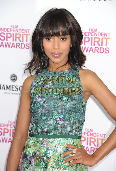 Kerry Washington.2013 Film Independent Spirit Awards - Arrivals Held At Santa Monica Beach, Santa Monica, California, USA,.23rd February 2013..indy indie indies indys half length green hand on hip print dress  sleeveless floral ring.CAP/ROT/TM.©Tony Michaels/Roth Stock/Capital Pictures